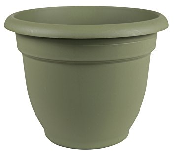 Fiskars 12 Inch Ariana Planter with Self-Watering Grid, Thyme Green